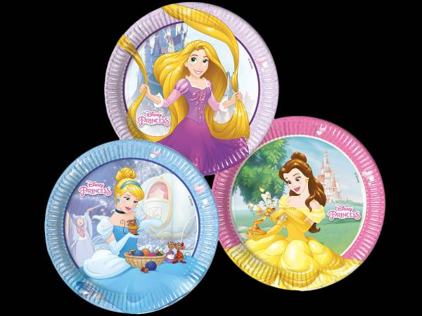 anniversaire princesses disney assiettes en carton. Black Bedroom Furniture Sets. Home Design Ideas