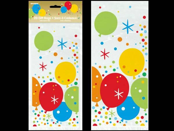 20 Sachets cello Ballons confettis