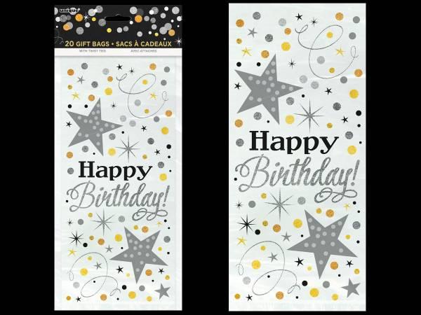 20 Sachets cello Happy Birthday pétillant or/argent