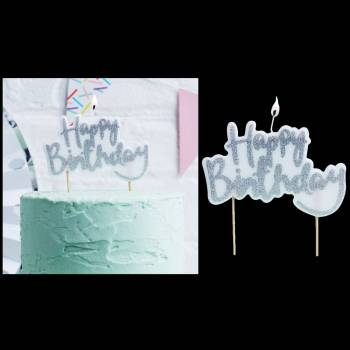 Bougie HAPPY BIRTHDAY pailleté argent