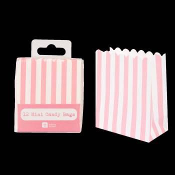 12 sacs en papier rayures rose