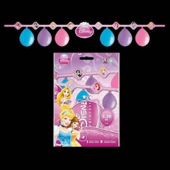 Kit 6 ballons + guirlande anniversaire Princesses Disney