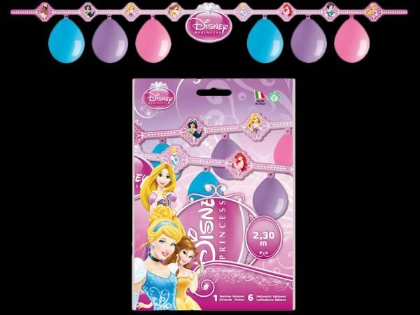 Kit 6 ballons en latex + guirlande Happy Birthday Princesses Disney