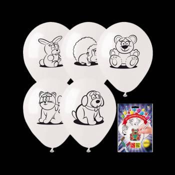 Kit 5 Ballons à colorier animaux