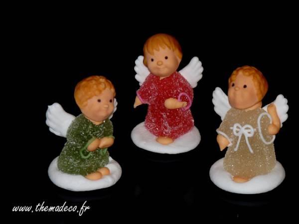 Figurines anges de noël en sucre- deco de gâteau