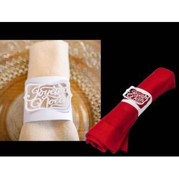 10 Ronds de serviettes Joyeux Noël blanc