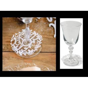 10 Décorations de verre Joyeux Noël blanc