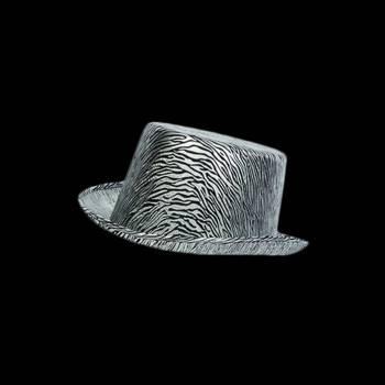 Chapeau haut de forme satiné argent