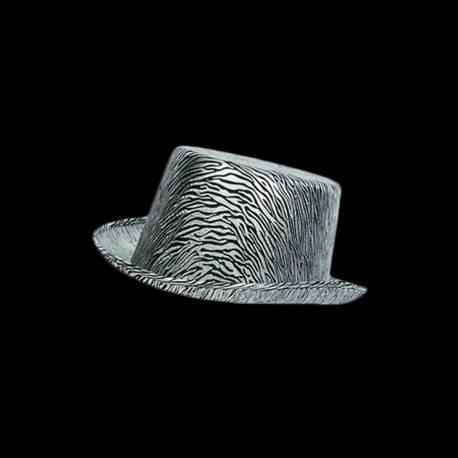 Chapeau haut de forme satiné argent pour agrémenter un déguisement