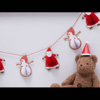 Guirlande Père Noël et ses amis nid d'abeille
