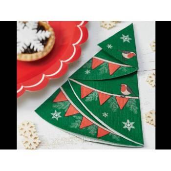 12 Serviettes Sapins de Noël