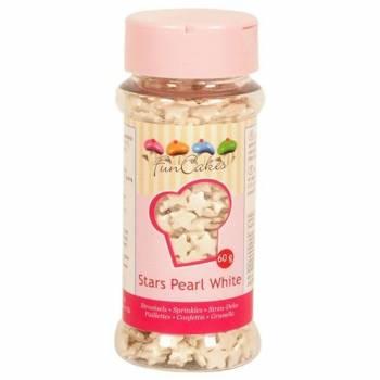 Confettis en sucre étoiles nacrées blanches Funcakes