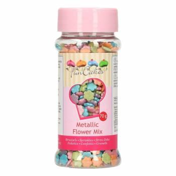 Confettis fleurs en sucre multicolore irisé 70gr