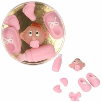 6 Décors pâte à sucre/amande baby rose