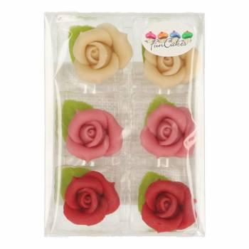 6 Roses en pâte d'amande assorti