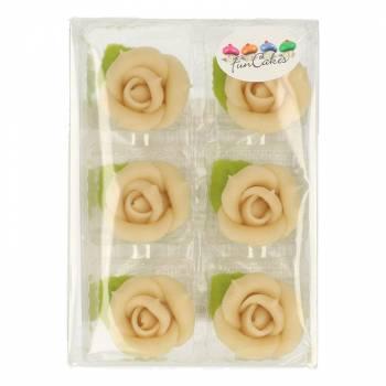 6 Roses en pâte d'amande blanche