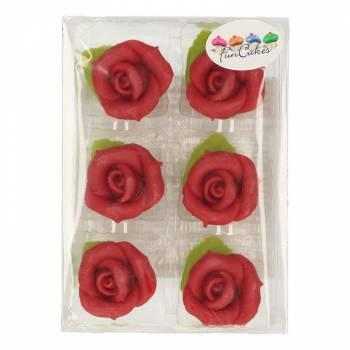 6 Roses en pâte d'amande rouge
