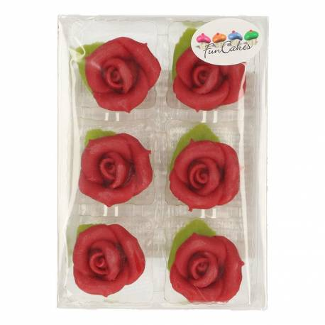 6 roses en p te d 39 amande rouge thema deco. Black Bedroom Furniture Sets. Home Design Ideas