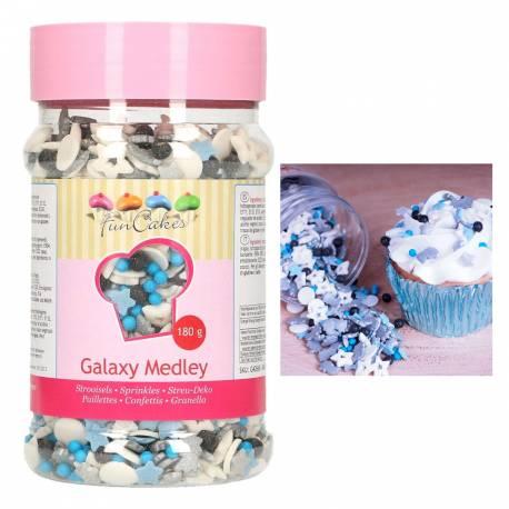 Superbe assortiment de confettis en sucre sur le thème de l'espace et la Galaxy de la marque Funcakes pour la deco de vos gâteaux et...