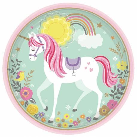 8 Assiettes en carton sur le thèmelicorne magique idéal pour la décoration de table de l'anniversaire de votre fille Ø23cm