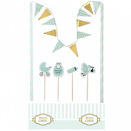 Kit pour réaliser la décoration d'un gâteau à l'occasion d'une Baby Shower, un baptême ou une fête de naissance pour un garçon Contient...