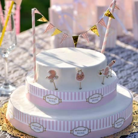 Kit pour réaliser la décoration d'un gâteau à l'occasion d'une Baby Shower, un baptême ou une fête de naissance pour une fille Contient...