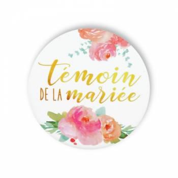 Badge Témoin mariée fleuri