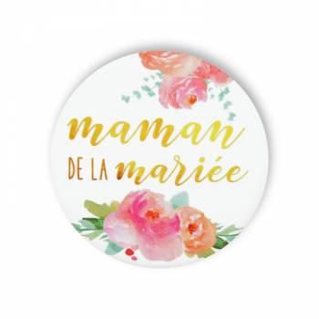 Badge Maman mariée fleuri