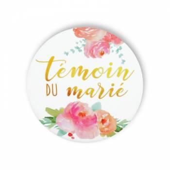 Badge Témoin marié fleuri