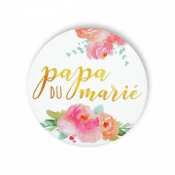 Badge Papa marié fleuri