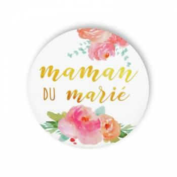 Badge Maman marié fleuri