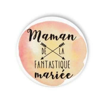Badge maman mariée fantastique aquarelle