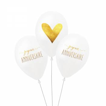 3 Ballons Anniversaire Or