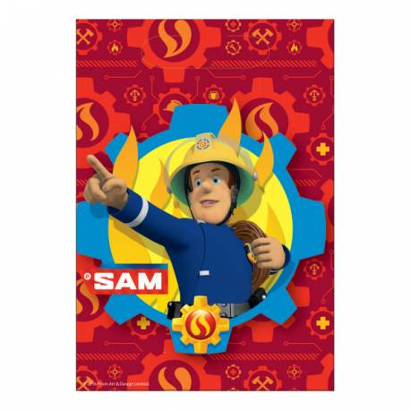 8 Sachets de fête en plastiquepour la décoration de table d'anniversaire sur le thème Sam le pompier Dimensions : 23 cm x 16 cm