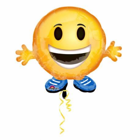 Ballon en aluminium à gonfler avec ou sans hélium à l'aide d'une paille En forme d'emoticon Dimensions : 45 cm x 53 cm