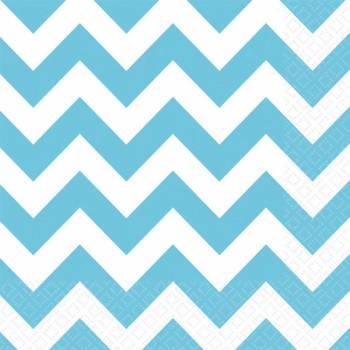 20 Serviettes papier chevrons turquoise