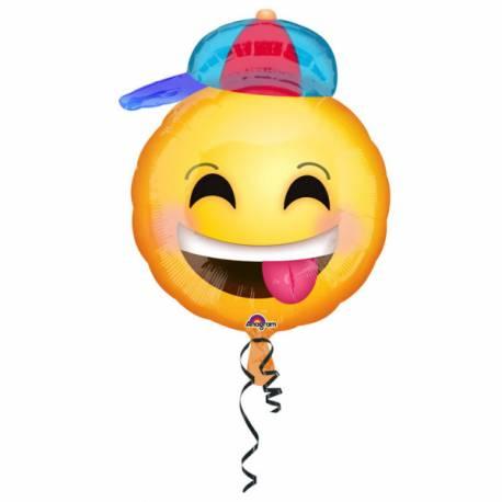 Ballon en aluminium à gonfler avec ou sans hélium à l'aide d'une paille En forme d'emoticon Dimensions : 43 cm x 50 cm