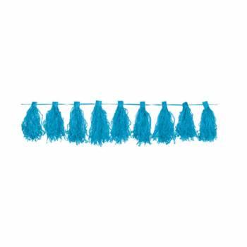 Guirlande pompons franges turquoise