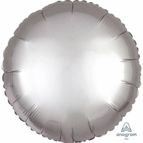 Superbe ballon hélium avec effet satiné haut de gamme à gonfler avec ou sans hélium à l'aide d'une paille Forme ronde couleur platinium...