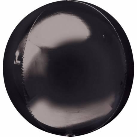 Ballon bulle noir Ballon en aluminium pouvant étre gonflé avec ou sans hélium à l'aide d'une paille Dimensions: Ø39 cm Vendu à l'unité