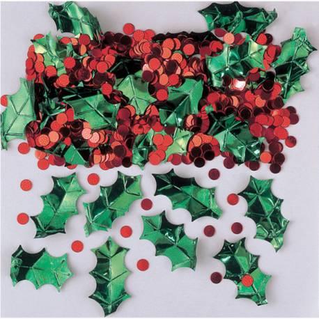 Paquet de confettis de table houx à parsemer sur votre table de Noël Sachet de 14 grs