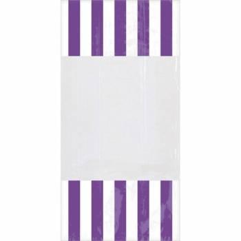 10 sacs à confiseries rayures violettes