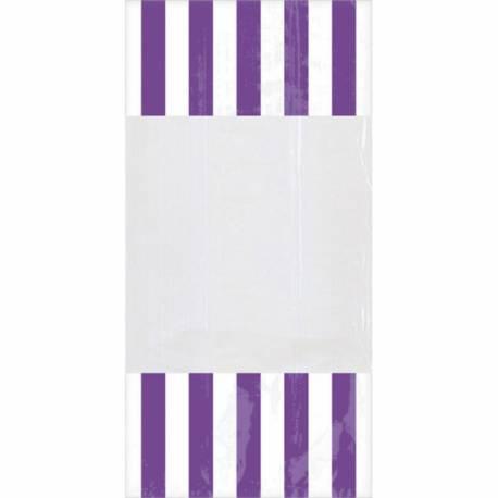 Paquet de 10 sachets à confiseries à rayures en plastique avec attaches Dimensions : 25 cm x 13 cm
