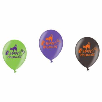 6 Ballon multicolore Happy Halloween