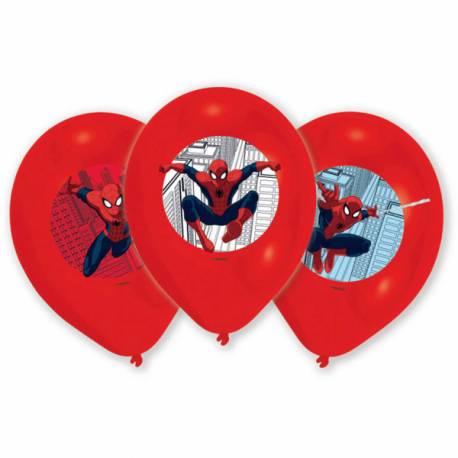 Assortiment de 6 ballons en latex sur le thème de Spiderman pour la déco anniversaire de votre enfant. Impression en couleur !
