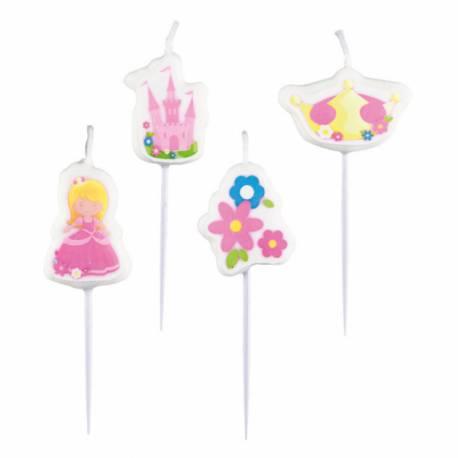 Assortiment de 4 bougies pics le thème My Princesse idéal pour l'anniversaire de votre fille