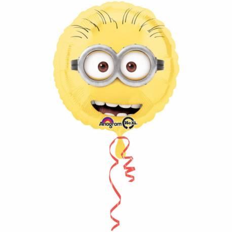 Ballon rond Les minions pour la deco anniversaire de votre enfant.Ballon en aluminium a gonfler, si possible, avec de l'hélium pour...
