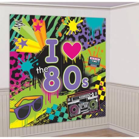 Décor mural géant année 80 pour vos soirées à thème ! Dimensions : 2 fois 1.65 cm x 82.5 cm Matière: toile plastifiée