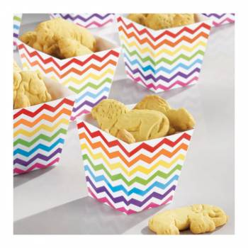 36 Mini cup carrée snack chevrons multicolore