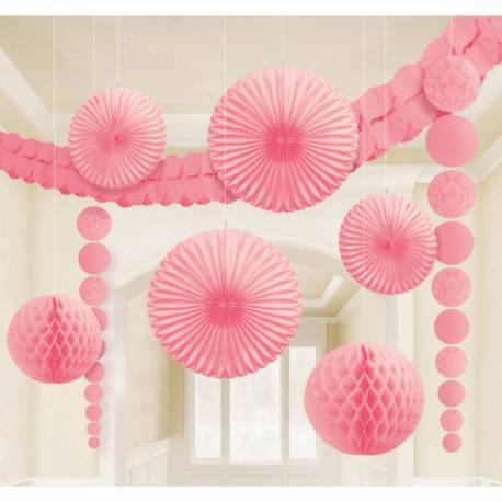 Kit permettant de décorer votre salle dans les tons derose - 2 boules de papier alvéolé 24 cm de diamètre - 2 sphères éventail en...